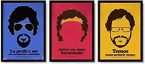 Kit 3 Quadros Decorativos Com Moldura Renato Russo, Cazuza e Raul Seixas