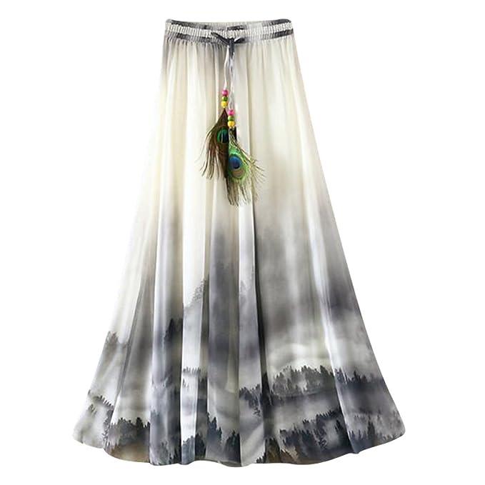 f2b84024d OuYou Mujer Faldas Largas Verano Playa Elegantes Vintage Boho Impresa  Cintura Alta Gasa Falda Maxi Plisada Ropa Fiesta Moda