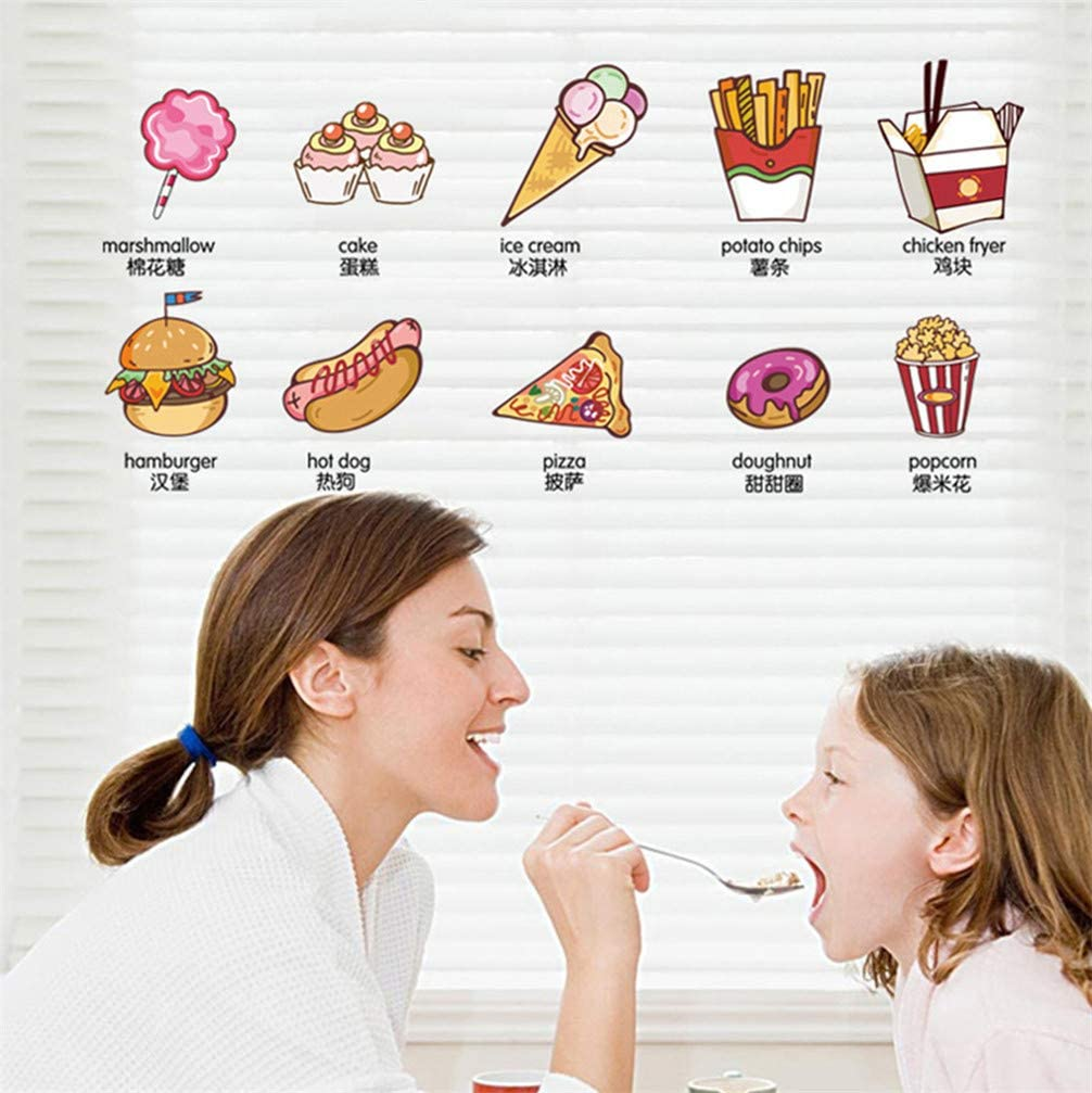 Fast Food Snack Sign Wall Decal Sticker Art Vinyl Decor Removable PVC Decoration for Restaurant Canteen Kitchen