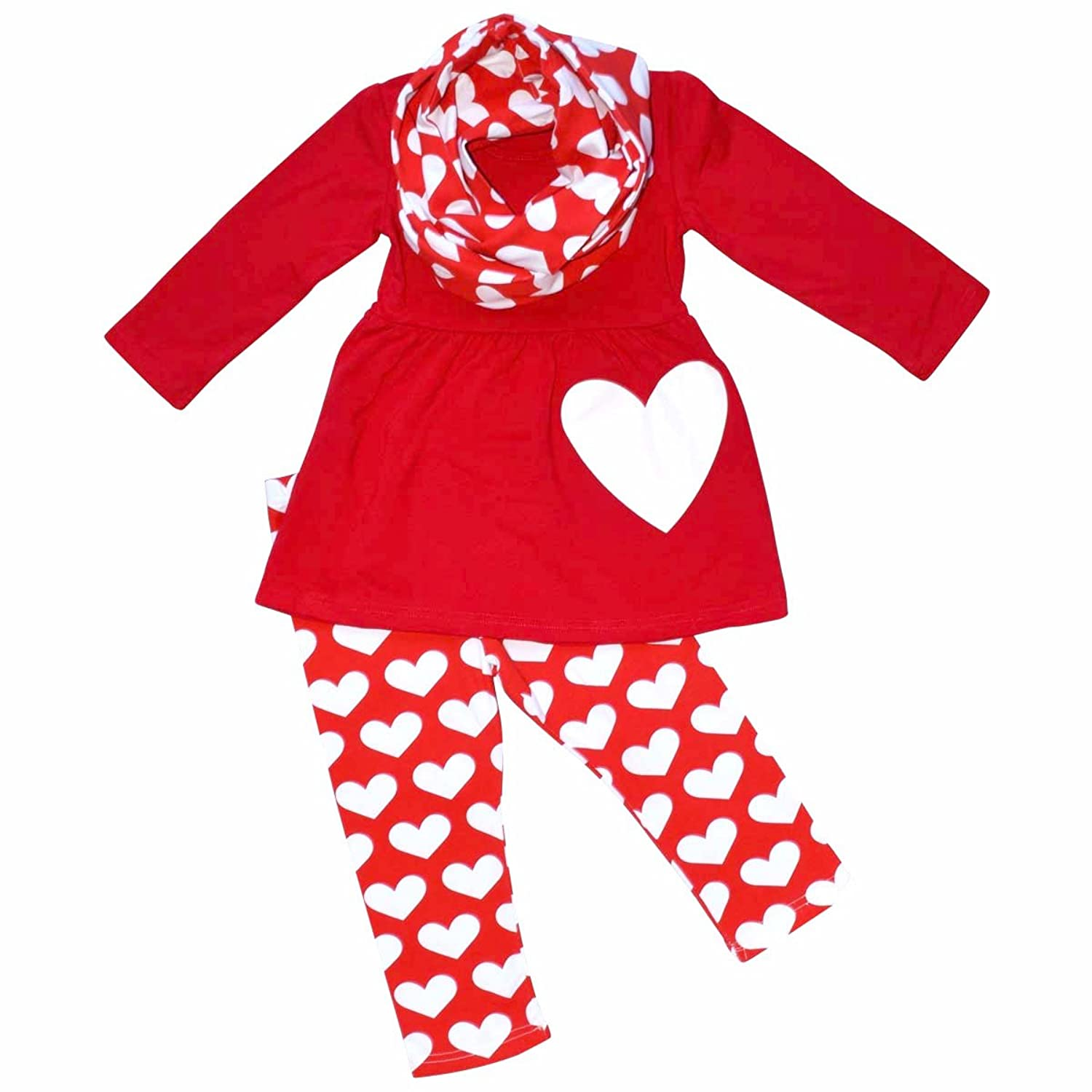 Unique Baby Girls Valentine's Day White Hearts Legging Set