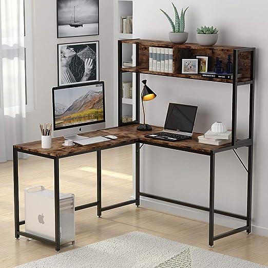 Amazon Com Tribesigns L Shaped Desk With Hutch 55 Inches Corner