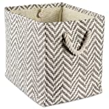"""DII Woven Paper Storage Basket or Bin, Collapsible & Convenient Home Organization Solution for Office, Bedroom, Closet, Toys, & Laundry (Medium – 15x10x12""""), Gray Chevron"""