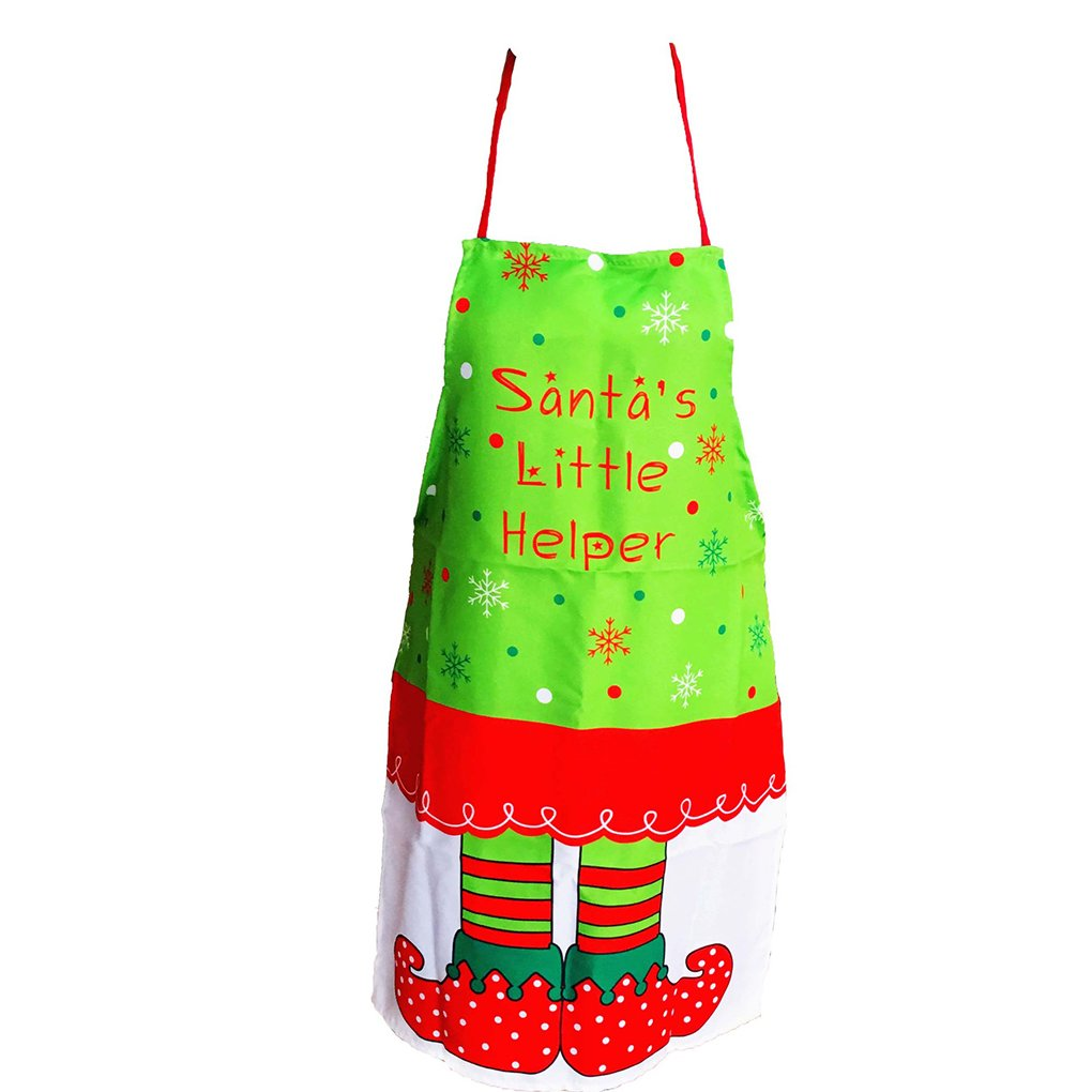 Harmily Christmas Elf Pattern Apron Women Kitchen Accessory Xmas Decoration