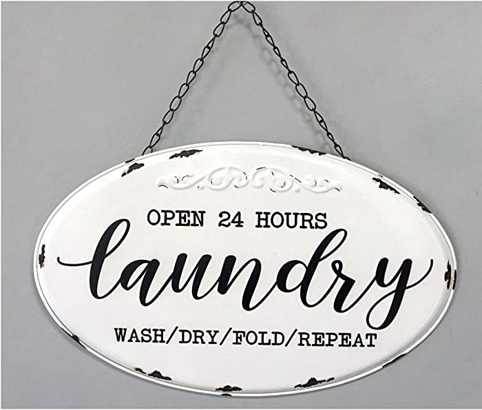 "DesMa Group, LLC Open 24 Hours Laundry Metal Sign, 14.5"" x 9"", White & Black"
