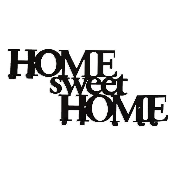 Perchero de Pared con 7 Ganchos Home Sweet Home Negro