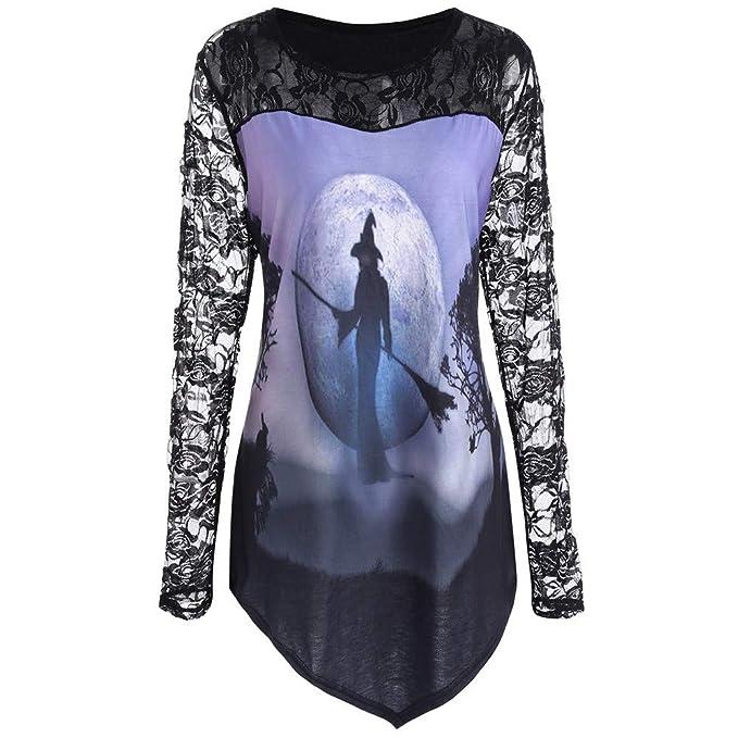 JYC Sudaderas para Mujer,Mujer Halloween Impreso Mujer Halloween Niño,Camiseta Blusa Cordón Insertar Camisa Parte Superior: Amazon.es: Ropa y accesorios