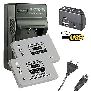 4en1 Cargador PATONA + 2x Bateria para NP900 NP-900 KONICA ...