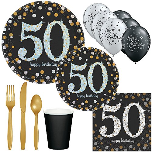 50th Birthday Party Supplies Black, Silver and Gold - Plates, Cups, Napkins, Silverware and Balloons (Serves 8) for $<!--$29.99-->