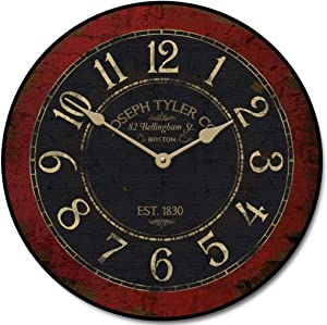 Bellingham Red Wall Clock, Available in 8 Sizes, Most Sizes Ship The Next Business Day, Whisper Quiet.