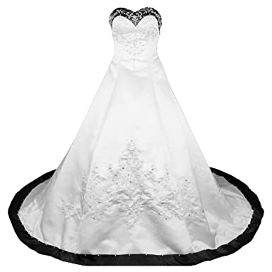 RohmBridal Sweetheart A Line Wedding Dress Bridal Gown Size 0 Ivory Black