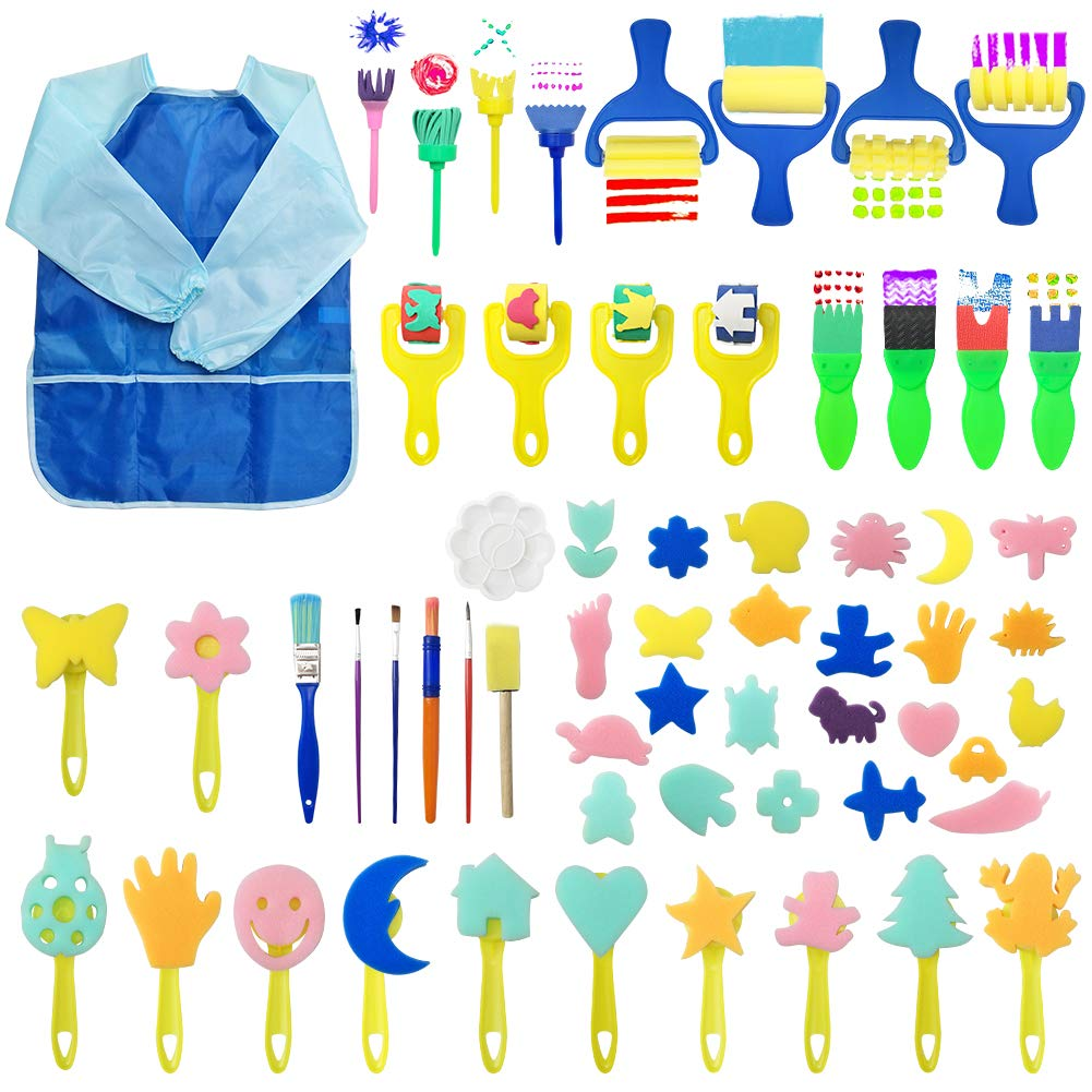 Augoog 60 Set Paint Sponges Drawing Brushes Stamps Rollers for Toddlers Art Craft, Early Learning Kids Painting Kit with Waterproof Smock by Augoog