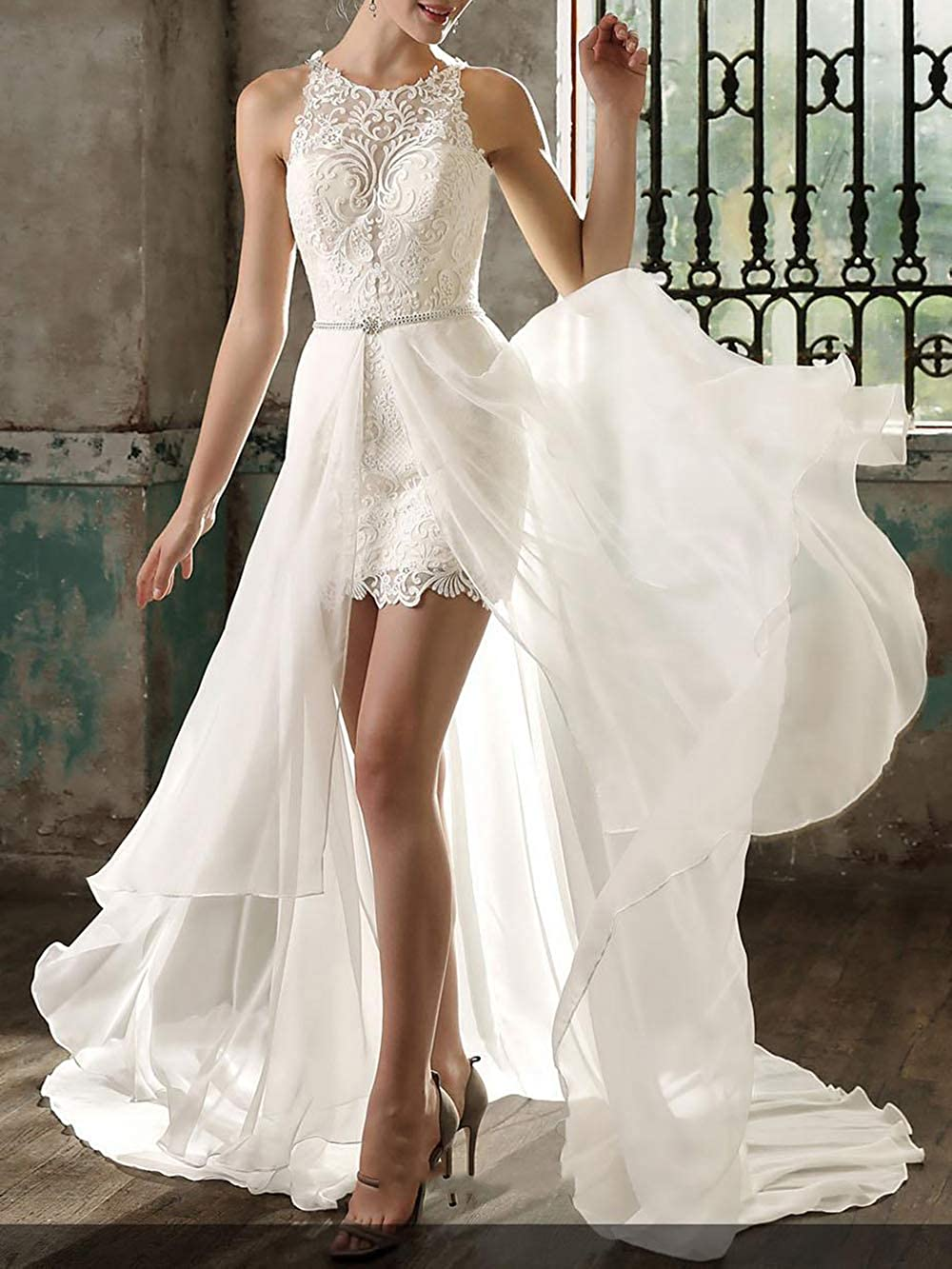Lovely Romana Womens Sleeveless Lace Appliqued Short Bridal Gown Wedding Dress for Brides with Detachable Train