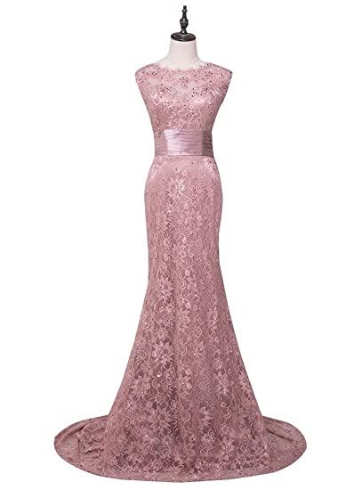 Beauty-Emily Evening Dresses Long Pink Scoop Lace Flower Embroidery Gold Beaded Gown Dresses