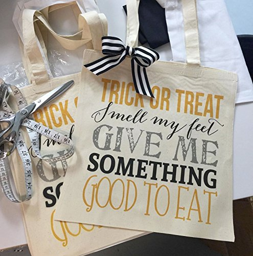 Trick or Treat Bag for Kids, Canvas Tote Bag for Candy, Halloween Bag