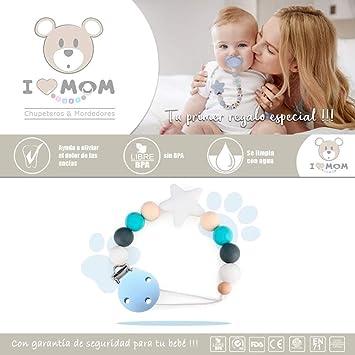 RUBY - Clip cadena bebé, cadenas para chupetes como regalos, babyshowers, estrella verde bebe silicona antibacteriana lactancia, pinza plástica ...