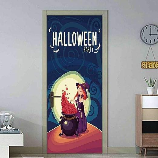 WWDDVH Luna de Dibujos Animados Bruja de Halloween Habitación de ...
