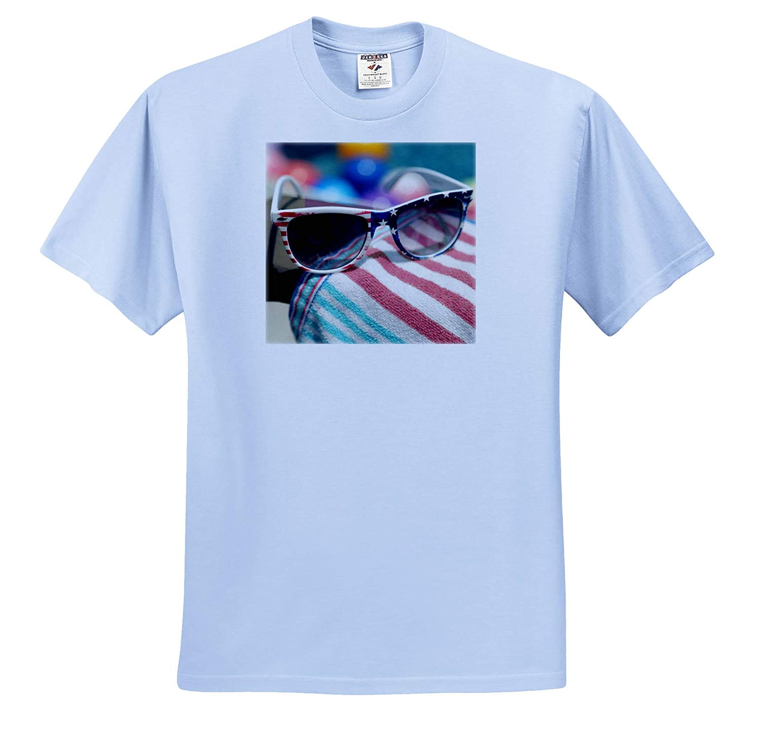 3dRose Stamp City - Adult T-Shirt XL Seasonal Photograph of Americana Sunglasses on a Striped Towel Poolside ts/_316764