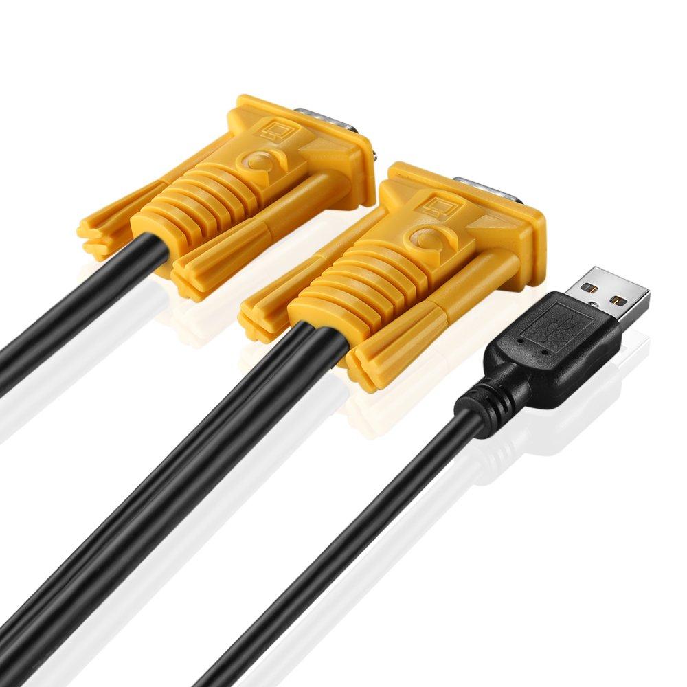 15FT TNP KVM Cable - KVM USB VGA Wire Cord Plug Male to Male 2-in-1 Kit for TNP KVM Switch Console MT-VIKI KVM Switch