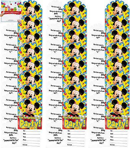 Mickey Party Supplies Birthday Invitations Bundle for 24 Guests! (Birthday Invitations Mickey Mouse)