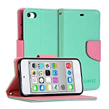 GMYLE (R) Wallet Case Classic for Ipod Touch 5th Generation - Turquoise Blue and Pink Cross Pattern PU Leather Slim Magnetic Flip Stand Cover
