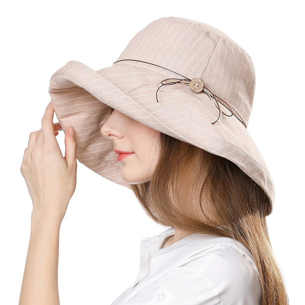 Fancet Crushable Summer Sun Bucket Wide Brim Hat for Women Beach Safari Hiking Travel Bonnie SPF Beige