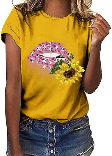 VEMOW Camisetas Mujeres Tallas Grandes Bandera Americana Gato Imprimir Camisa de Manga Corta Blusa: Amazon.es: Ropa y accesorios