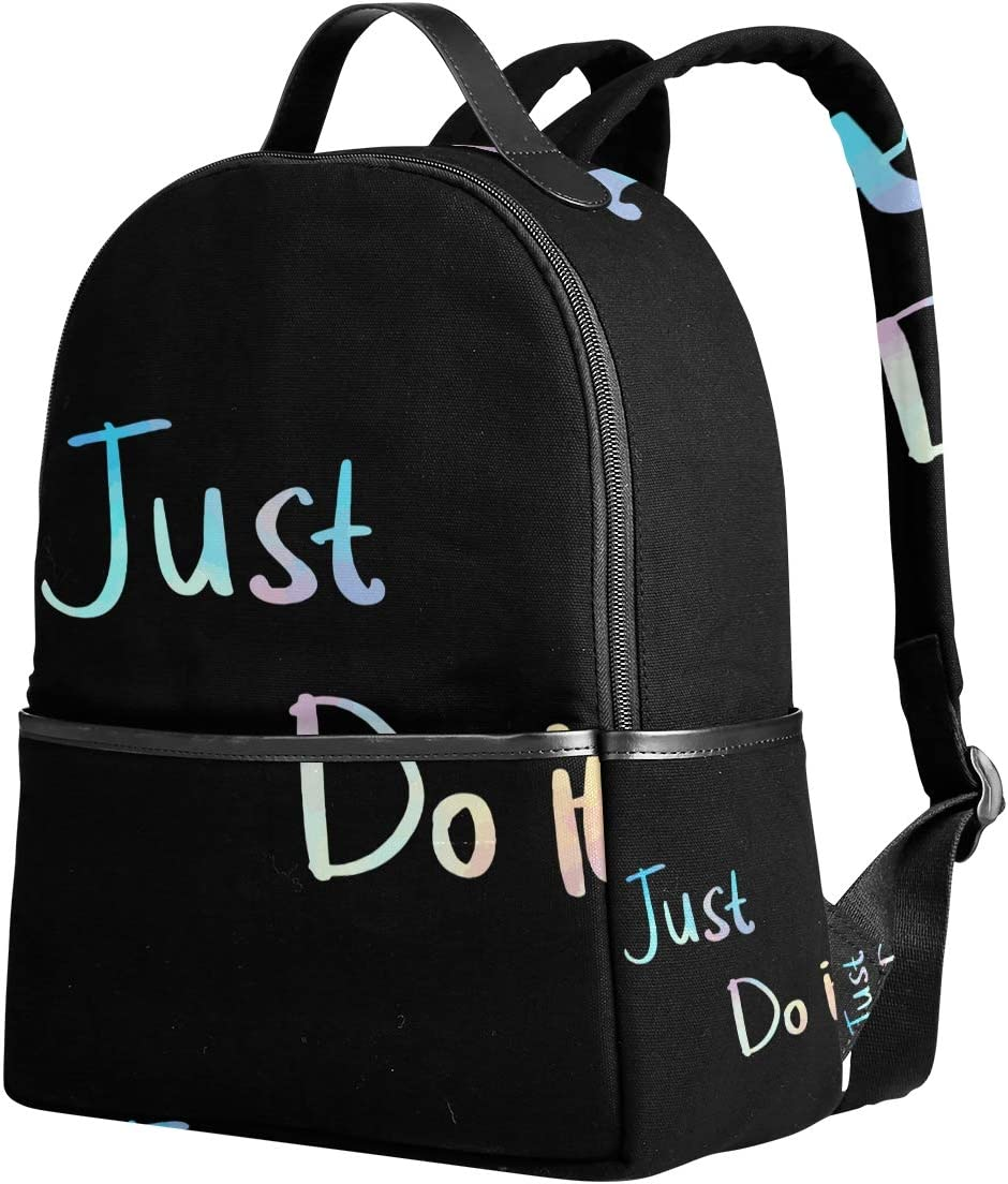 Sac /à Dos pour Femme avec Citation Just Do It Noir