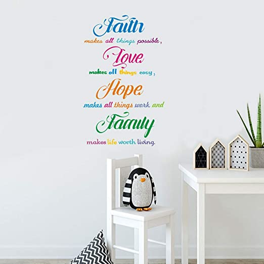 Wall Tattoo Wall Slogan Wall Sticker hallway QUOTE Believe In Miracles Love Luck w3403