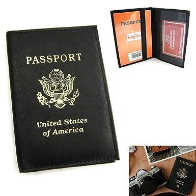 Amazon.com: RFID pasaporte de piel Funda Soporte tarjeta de ...