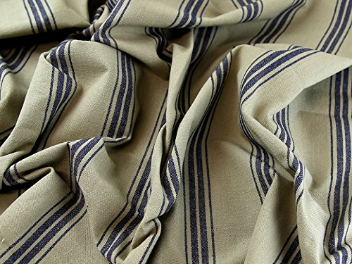 Broad Ticking Stripe Woven Cotton Canvas Upholstery Fabric Beige & Navy - per metre (Woven Ticking)