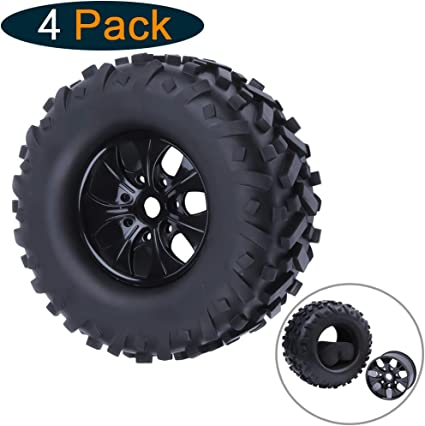 4X 1:8 Tyre Tires+Wheel Rim 17mm Hex For RC Off Road HPI HSP Traxxas Buggy Car