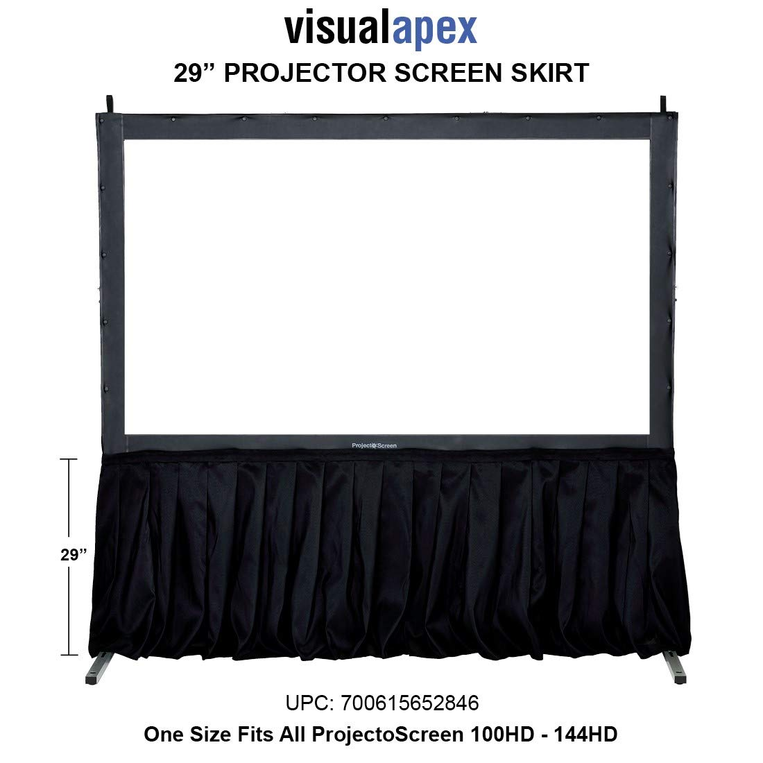 Visual Apex Projector Screen Black Skirt kit - 29'' H Standard Size Presentation Screen Skirt Kit (Screen not Included)