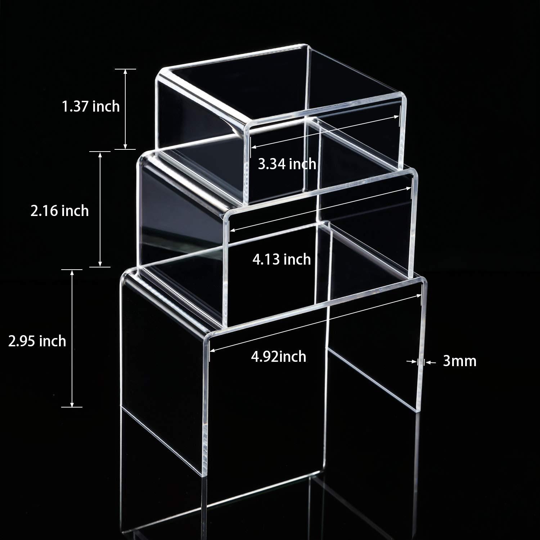 2 Sets Klare Acryl Display Risers Schmuck Display Riser Shelf Showcase Leuchten 3 Gr/ö/ßen A
