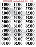 Reverse Number Sticker Labels | 0001 - 1000 Mirrored Image Consecutive Numerical Sticker Tags | LARGE 3/4'' FONT | 1'' x 2 3/4'' Numbered Labels in Reverse (0001 - 1000)