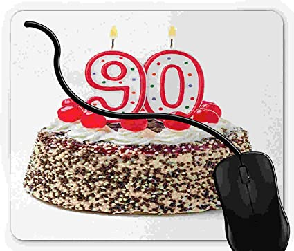 Amazon Mouse Pad Gaming 90th Birthday Cake With Tasty Cherries Burning Candles And Number Ninety 925 X 775 Inch Non Slip Rubber Mousepad