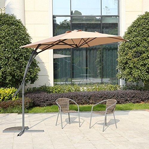 MYAL 9ft Patio Umbrella Offset Outdoor Market Umbrella Tan