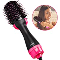 Ridioo Brosse Soufflante Rotative, 2 en 1 ions Peigne à air Chaud redresseur bouclé Peigne Brosse Styler, Cheveux Electrique Fer à friser Défrisant de Cheveux avec Fonction Anti-brûlure