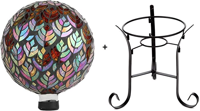 Lily's Home Colorful Mosaic Glass Gazing Ball, Designed with a Stunning Holographic Petal Mosaic Baroque Splendor Pattern with a 9 inch Metal Stand