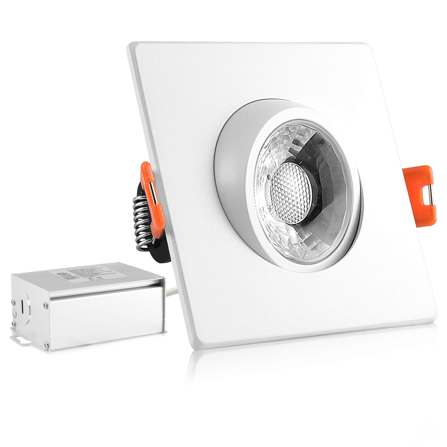 Luxrite 3 Inch Gimbal LED Square Recessed Light with Junction Box, 8W, 5000K Bright White, 600 Lumens, Dimmable Downlight, Energy Star & IC Rated, Damp Location - Adjustable Recessed Lighting