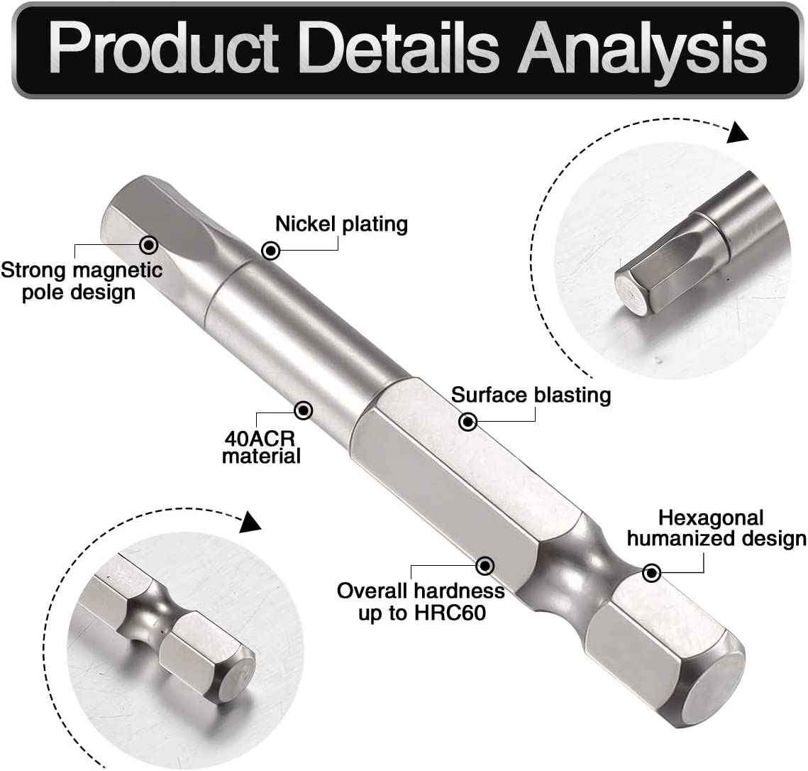 Juego de 4 brocas hexagonales magn/éticas de doble extremo puntas largas hexagonales para agujeros profundos de tornillo HOHXEN 65 mm//110 mm