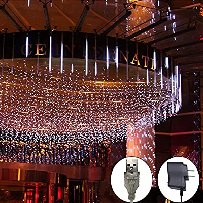 LED Meteor Shower Rain Lights Waterproof Falling Rain Drop Fairy Outdoor Christmas String Lights with 30CM 8 Tubes 144 LEDs Decoration Lights for Birthday Party Garden Tree Home Wedding Decoration