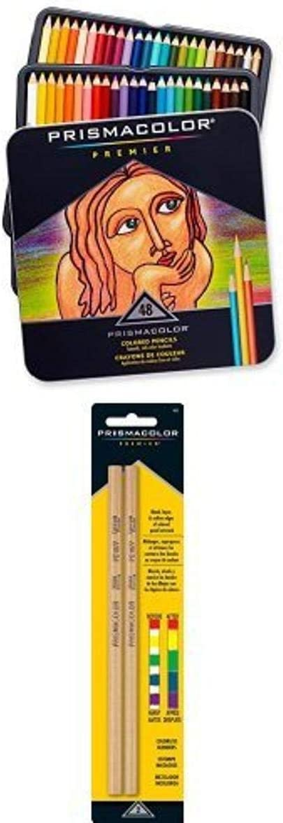 Prismacolor Premier Colored Pencils, Soft Core, 48-Count and Prismacolor Premier Colorless Blender Pencils, 2-Count Bundle