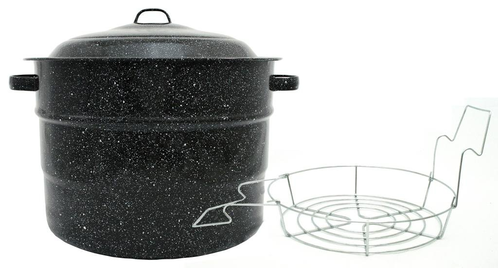 Granite Ware Steel/Porcelain Water-Bath Canner with Rack, 21.5-Quart, Black by Columbian Home
