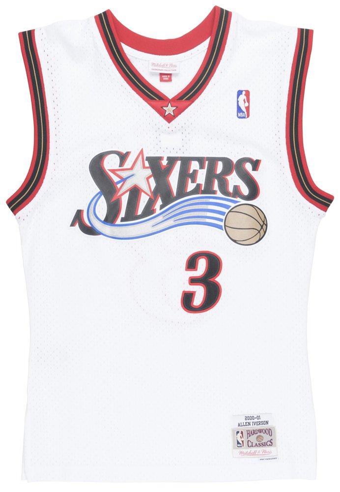 Mitchell & Ness White/Red Philadelphia 76ers Allen Iverson Swingman Jersey (White/Red, 2XL)