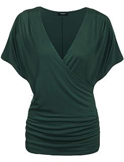 310075bedd316e Zeagoo Damen V-Ausschnitt T-Shirt Kurzarm Batwing Fledermaus Sommer Shirt  Tunika Bluse