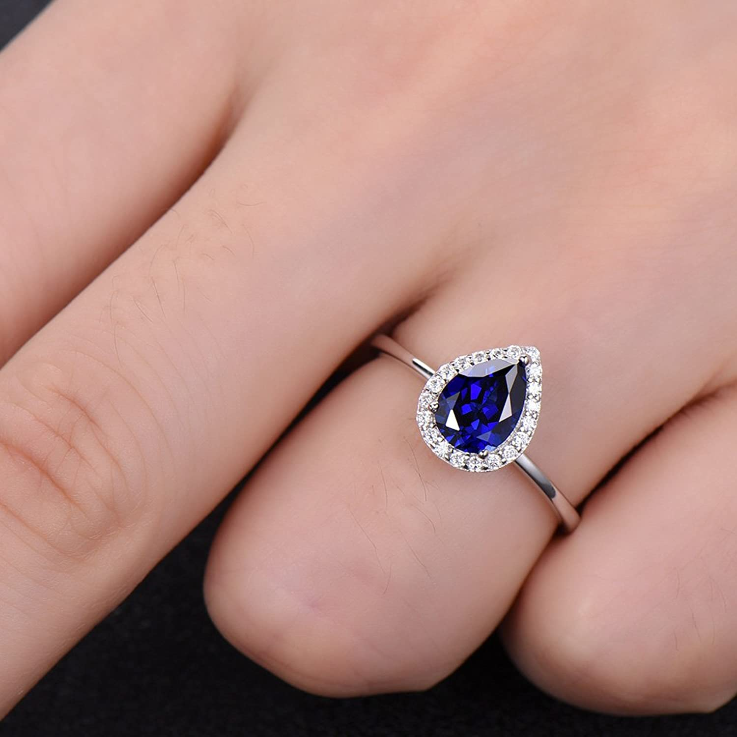 Amazon.com: Pear Shaped Lab Blue Sapphire Engagement Ring White Gold ...