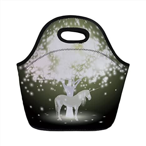 Amazon com: Neoprene Lunch Bag, Magic Decor, Legendary Unicorn Horse