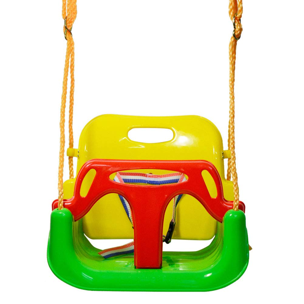 LHLCG Siège de balançoire 3 en 1 pour bébé, balançoires à Dossier Haut pour Enfants, avec Mousqueton et Kits de Montage de Corde de Connexion,vert