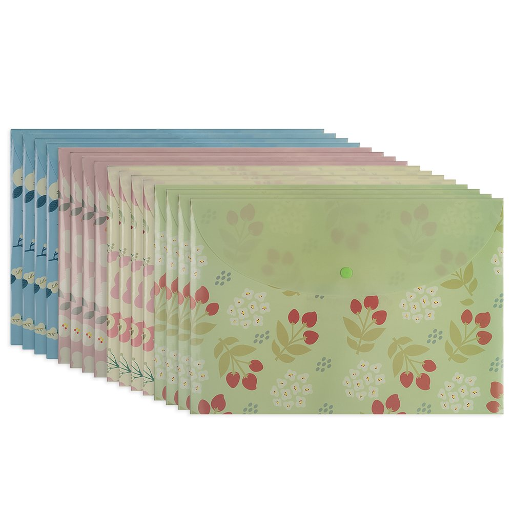 Fasmov Floral Document Folder with Snap Button,Pack of 16(Blue,Pink,Yellow,Green)
