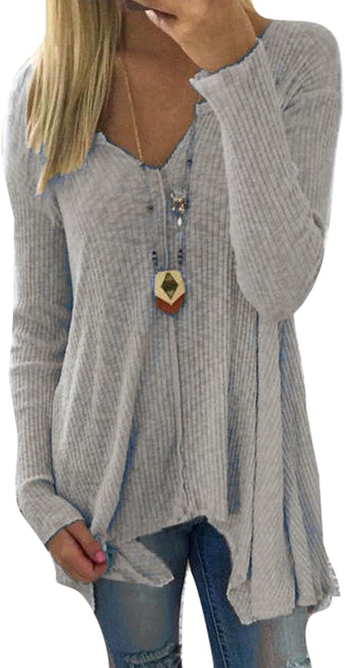 hibote Damen Pullover V Ausschnitt Sweater Frauen Oberteile Langarm Shirt Jumper Strickpullover Unregelmäßiger Tops Strickpulli Herbst und Winter